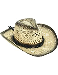 9486433ac21 Unisex Woven Straw Cowboy Ranch Hat with Shapeable Brim