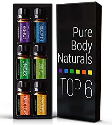 Aromatherapy Top 6 Essential Oils - Therapeutic grade - with Lavender, Tea Tree, Eucalyptus, Sweet Orange, Lemongrass & Peppermint - Basic Sampler Gift Set & Premium Kit - 6/10 M - Parent by Pure Body Naturals - Essential Oils
