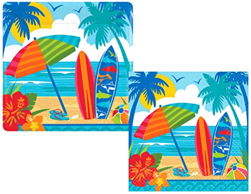 Surfing Theme Party Supplies: Bundle Includes Paper Plates and Napkins for 18 People in a Sun and Surf Design -