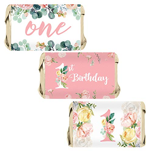 (Pink Floral 1st Birthday Party Mini Candy Bar Wrappers - 45)