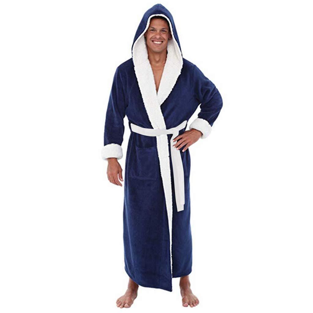 Mens Winter Plush Lengthened Shawl Bathrobe Home Clothes Long Sleeved Robe Coat Men/'s Winter Plush Lengthened Shawl Bathrobe Home Clothes Long Sleeved Robe Coat Zoilmxmen Mens Fleece Robe with Hood