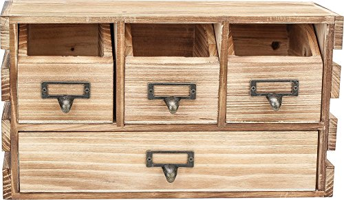 Rusoji Decorative Vintage Style Torched Wood Home Office Supply Desktop Storage Cabinet Organizer with 4 Label Drawer Handles, Brown by Rusoji