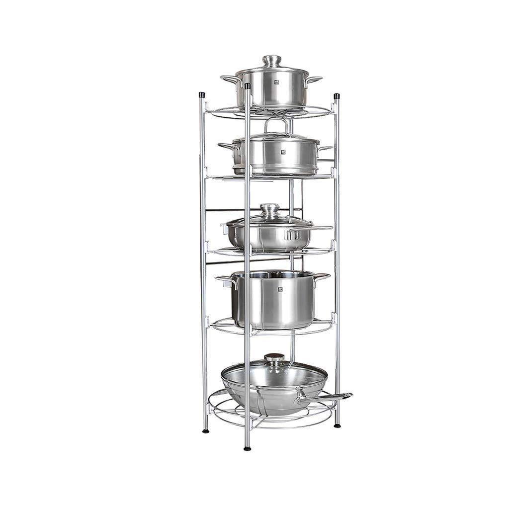 キッチン収納ラック - ステンレス鋼キッチンラックフロア型多層オーブン料理収納収納棚ポットラック LJKHDF B07RQGDTCW