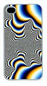 iCustomonline Case for iPhone 4 4S - Protective Hard Back / White Sides - Blinding Trippy Fractal Art