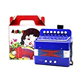 Dilwe Accordion for Kids, 7-Key 2 Bass Mini Small Accordion Educational Musical Instrument Rhythm Toy for Children (blue)
