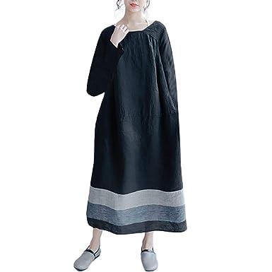 a661702b8505d Lucaso ドレス ワンピース レディース 人気 無地 配色 丸首 復古 ゆったり 体型カバー カジュアル 可愛い 発表会