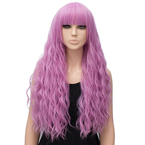 Alacos Fashion Rainbow Color Harajuku Lolita 70CM Curly Long Halloween Party Cosplay Wigs for Women (Pink Purple) -