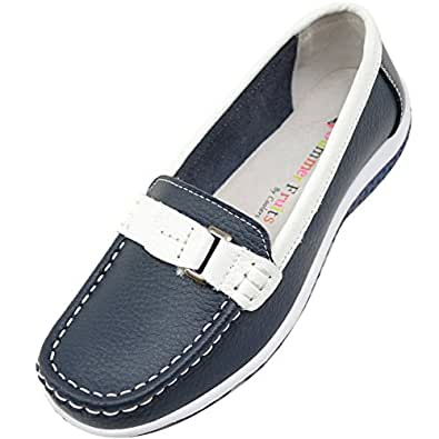 Absolute Footwear Ladies/Womens 100% Real Leather Slip On Summer/Holiday/Casual/Boat Shoes - Blueberry - US 6