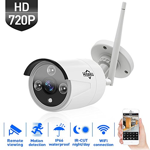 HisEEu Wireless Security Camera Outdoor, IP WIFI Camera, 720P HD Night Vision Bullet Cameras, Waterproof Surveillance CCTV, IR LED Motion Detection IP Cameras for Indoor Outdoor, Support Max 128GB TF
