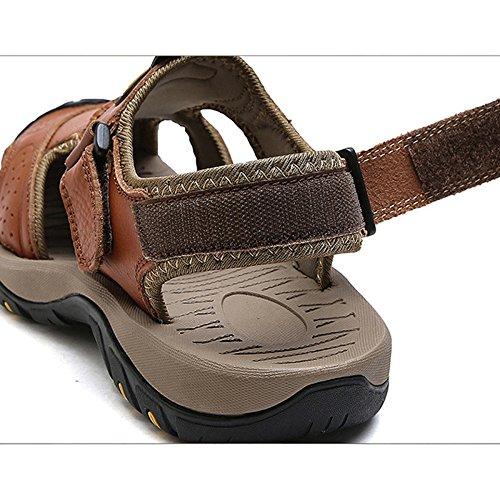 Chiuse L'escursionismo Khaki Vera Piscina Sandali Piedi in per Pelle da Size Scarpe Uomo Large Scarpe Ai Spiaggia Moda Casual Outdoor Sportive WUqYwf4F