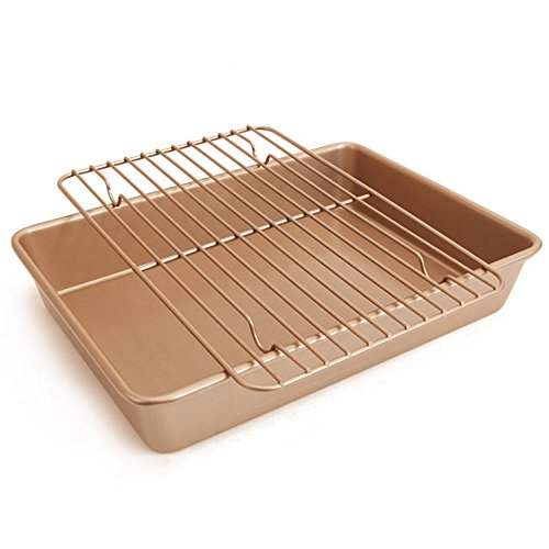 13 inch Nonstick Baking Sheet and Rack Set - Carbon Steel Cooking Pan - Stainless Steel Baking Pans Cookie Tray with Safe Cooling Rack