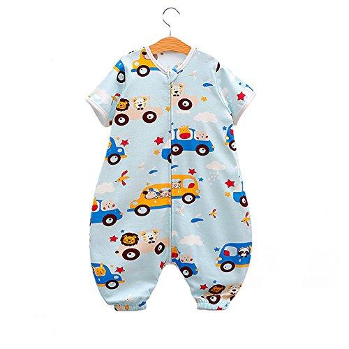 Fairy Baby Walker Sleep Bag Short Sleeve Wearable Blanket for Summer Fit Baby 25.59-45.28IN(L,Blue Car)