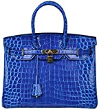 Cherish Kiss Padlock Bag Women Crocodile Leather Top Handle Handbags (35cm, Electric Blue)