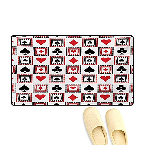 Bath Mat,Icons of Playings Cards Clubs Hearts Symmetrical Geometric Repeating Ornamental,Door Mats for Inside Non Slip Backing,Scarlet Black,24