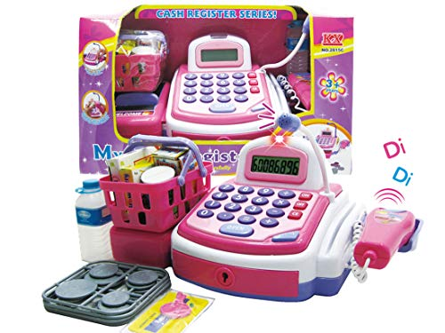 Lvnv Toys @ Activity Learning Family Battery Operated Electronic Cash Register Toy Pretend Play Microphone, Scanner, Money and Credit Card, Groceries With Sound ()