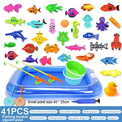 "Raintoad 41PCs Magnetic Fishing Toys Set, 2 Fishing Rodes, 33 Fishes, 2 Mini Pail, 2 Fishing nets, 18"" Swimming Pool, 1 Inflator, Toddler Bath Toys, Water Toys Fishing Game for Kids: Home & Kitchen"