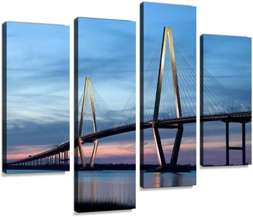 Canvas Wall Art Painting Pictures Ravenel Bridge Cooper River Bridge in Charleston SC Modern Artwork Framed Posters for Living Room Ready to Hang Home Decor 4PANEL