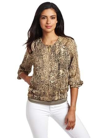 Vince Camuto Women's Safari Skin Zip Front Jacket, Safari Khaki, X-Small