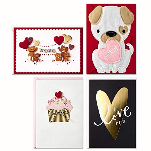 Signature Valentines Day Cards Assortment for Kids (4 Valentine Cards with Envelopes)