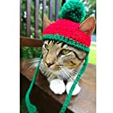 Schnappy Soft Handmade Crochet Knitted Cat Bonnet Hat - Pet Santa Pom-Pom Cap Christmas Gifts for Small Cats Dogs (Red with Green)