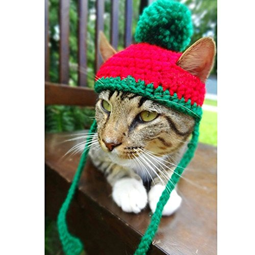 Schnappy Soft Handmade Crochet Knitted Cat Bonnet Hat,Pet Santa Pom-Pom Cap Christmas Gifts for Small Cats Dogs (Red with Green) ()