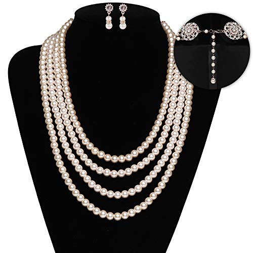 burn Inspired Pearl Necklace Inspired by Breakfast at Tiffany's 1920s Gatsby Imitation Pearls Necklace with Crystal Brooch Bridal Pearl Jewelry Sets (Rose Gold 7) ()