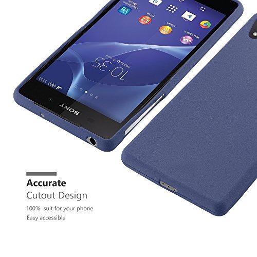 Cadorabo - Cubierta protectora para Sony Xperia Z2 de silicona TPU en diseño Escarcha �?Case Cover Funda Carcasa Protección en FROST-NEGRO FROST-AZUL-OSCURO