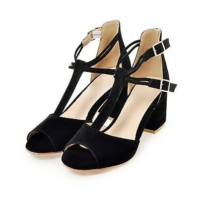 26fc91942e OTOSU Women's Peep Toe Chunky Block Heel Sandals Ankle Strap Buckle T-Strap  Party Dress