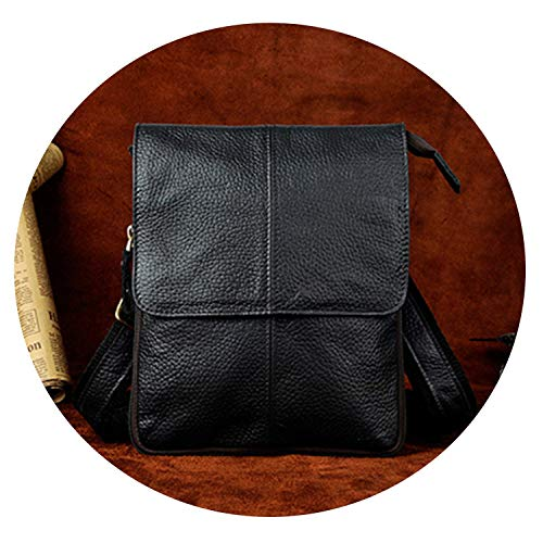 Men Waist Bag Genuine Leather Fanny Packs Male Real Leather Waist Phone Pouch Casual Messenger Shoulder Crossbody Bags,Black