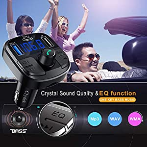 513s7TzoQ4L. SS300  - Clydek-Bluetooth-50-Car-FM-Transmitter-Wireless-Audio-Transmitter-Car-Charger-with-QC30-and-Type-C-Quick-Charge-Car-Radio-Audio-Adapter-MP3-Player-Support-Hands-Free-Calling-USB-Drive-TF-Card