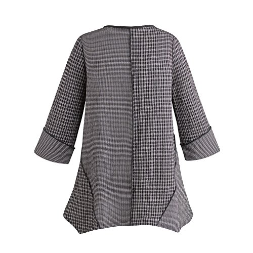 Y&S FASHION DESIGNERS Women's Black-and-White Plaid Tunic With chopstick Buttons 3/4 Sleeves - XXL