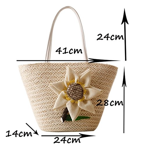 Womens Handbag Brown Flower Shoulder 7 Straw YOUJIA Boho Shopper Bags Beach Bags Totes dTpxpw
