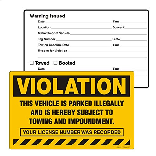 VIOLATION, THIS VEHICLE IS PARKED ILLEGALLY..., 8'' X 5'' Labels (Scrape to Remove) - PACK OF 50