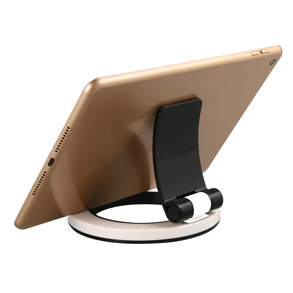 Tablet Stands, Tuscom 180 Degree Adjustable Foldable Cell Phone Stand Holder for iPhone Xs/XR/XR MAX, Samsung S10 Plus/S10/S9, Desktop Bracket Dock for iPad Air/Mini 5/4/3/2/1 Samsung Tablet (Black)
