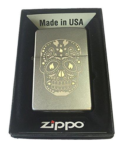 (Zippo Custom Lighter - Sugar Skull w/ Flame Eyes Design Satin Chrome)