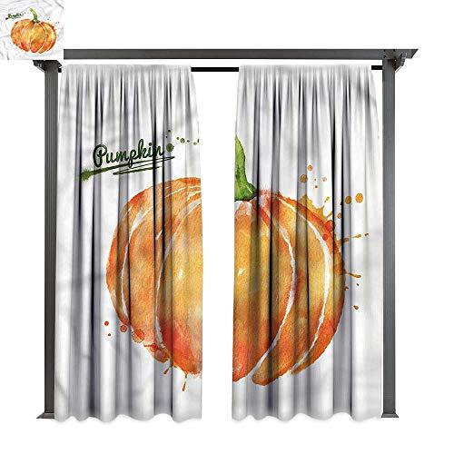 cobeDecor Outdoor Curtain Pumpkin Artistic Watercolor Splash for Lawn & Garden, Water & Wind Proof W120 -