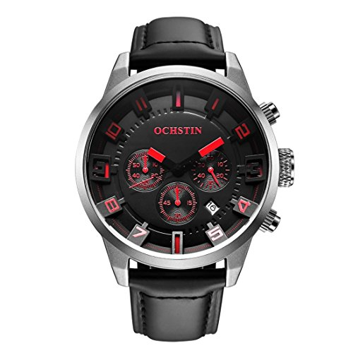 (VAXT Direct Stave Multifunction Three Sub Dial Calendar Display Men Quartz Watch with Unfeigned Leather Band (SKU : Wa0700sr))