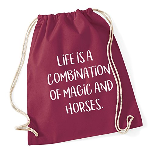 HippoWarehouse Sack Is Burgundy 37cm Horses School A Drawstring 12 x Gym Magic litres 46cm Cotton Of Combination Life And Kid Bag 66rnRF