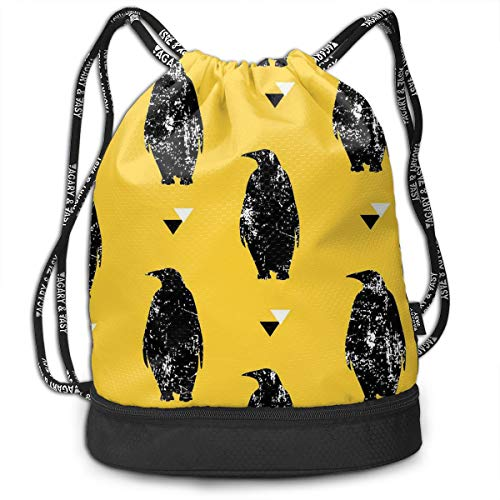 Packing Clipboard - Drawstring Bag Yellow Black Penguins Womens Gym Backpack Hot Mens Travel Canvas Bags for Unisex