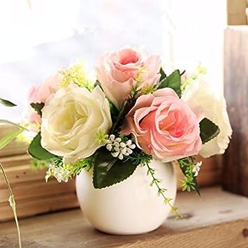 WLFM Künstliche Blumen Dekoration Keramik Runde Vase Wohnzimmer, Weiß + Weiß  Rosa Rose