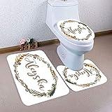 3PCS Halloween Bathroom Non-Slip Pedestal Rug + Lid Toilet Cover + Bath Mat Set (H)