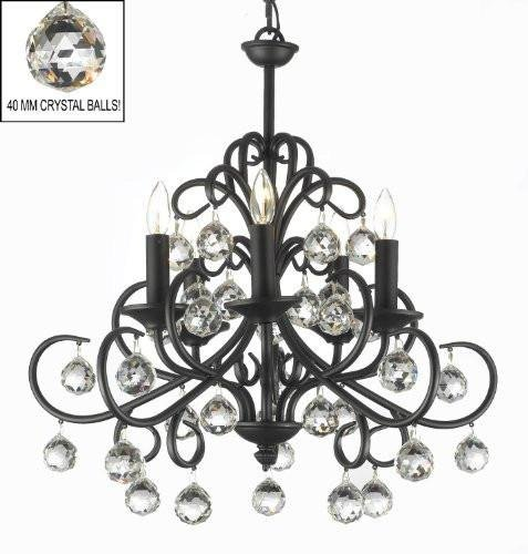 Bellora Crystal Wrought Iron Chandelier Chandeliers Lighting with Faceted Crystal Balls H 22