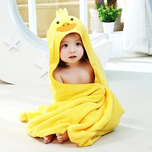 Kids Towels for Girls Hooded Organic Baby Towel Extra Soft and Thick Antibacterial and Hypoallergenic Bamboo Bath Towel for Infant and Toddler (Yellow Yellow Duck, 1 Pack)