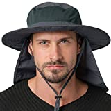 Jormatt Unisex UV Protection Outdoor Wide Brim Sun Hat UPF 50+ with Flap Neck Cover Foldable Fishing Safari Cap, Dark Gray