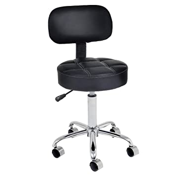 Groovy Covibrant Well Cushioned Adjustable Rolling Stool With Back For Office Desk Home Kitchen Massage Medical Salon Artist Ibusinesslaw Wood Chair Design Ideas Ibusinesslaworg