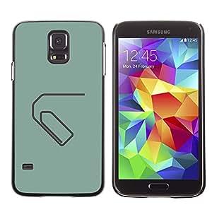 Paccase / SLIM PC / Aliminium Casa Carcasa Funda Case Cover - Paperclip Minimalist Green Grey - Samsung Galaxy S5 SM-G900