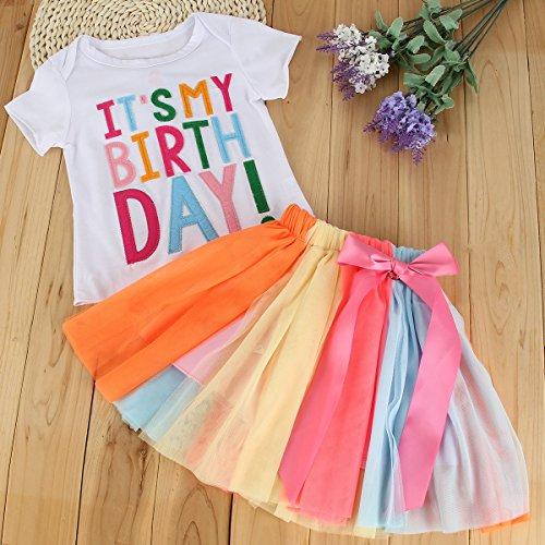 Puseky Toddler Baby Girls Birthday T Shirt Rainbow Mesh
