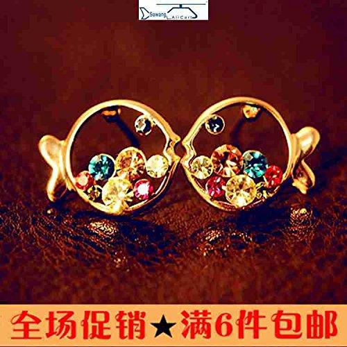 (usongs Korean luxury diamond earrings clownfish clown fish fat whirring hollow diamond earrings wholesale full )