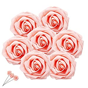 Enjoygous Artificial Flowers, Fake Silk Floral Roses Flower Heads With Stem For Bridal Wedding Bouquet Home Garden DIY Party Decoration 42