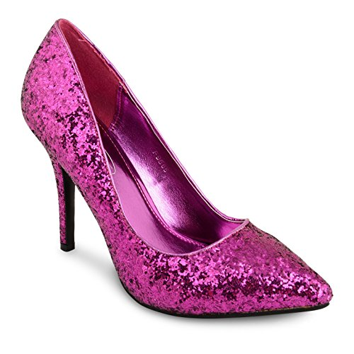 Tilly Shoes punta tacón BODA novia Prom Smart trabajo fiesta noche Oficina de Trabajo Zapatos Bombas Tamaño Multicolor - Purple Glitter